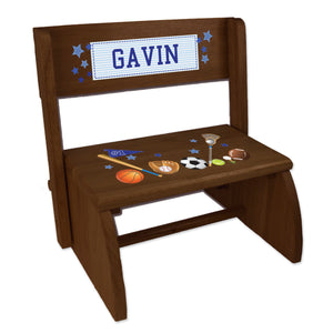 Personalized Sports Childrens And Toddlers Espresso Folding Stool