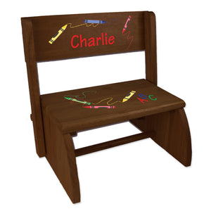 Personalized Crayon Childrens And Toddlers Espresso Folding Stool