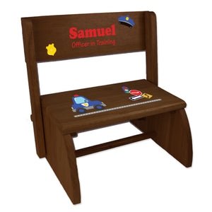 Personalized Police Child's Espresso Flip Stool