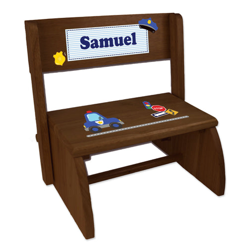 Personalized Police Childrens And Toddlers Espresso Folding Stool