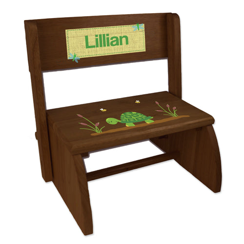 Personalized Turtle Childrens And Toddlers Espresso Folding Stool