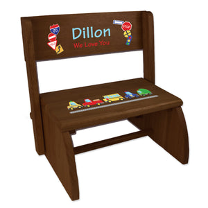 Personalized Cars And Trucks Child's Espresso Flip Stool