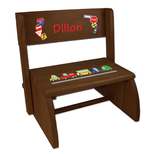Personalized Cars And Trucks Childrens And Toddlers Espresso Folding Stool