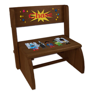 Personalized Espresso Flip Stool African American Super Hero Design