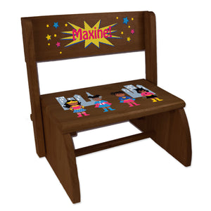 Personalized Childrens Espresso Folding Stool Super Hero Girl African American