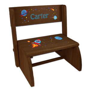 Personalized Rocket Childrens And Toddlers Espresso Folding Stool