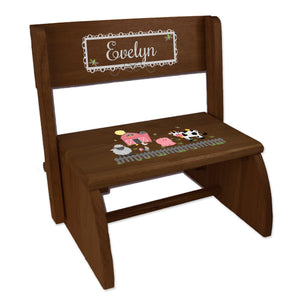 Personalized Barnyard Friends Childrens And Toddlers Espresso Folding Stool