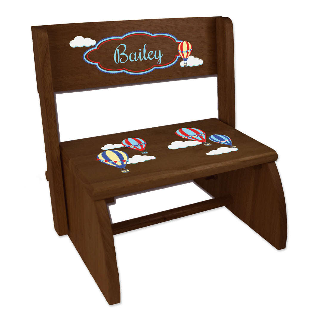 Personalized Hot Air Balloon Primary Childrens And Toddlers Espresso Folding Stool