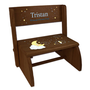 Personalized Child's Moon And Stars Espresso Flip Stool