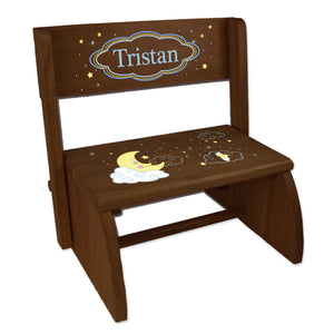 Personalized Espresso Flip Stool Moon And Stars Design