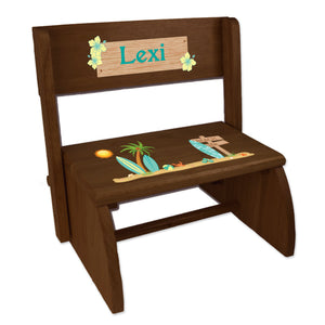 Personalized Childrens Espresso Folding Stool Surf Decor Theme Beach
