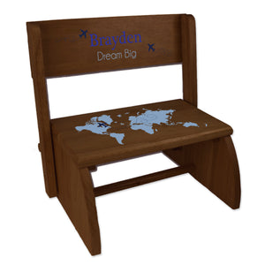 Personalized Blue World Map Child's Espresso Flip Stool
