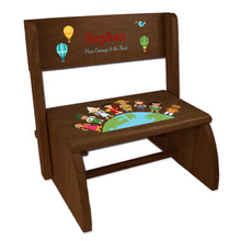 Personalized Small World Child's Espresso Flip Stool