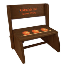 Personalized Basketball Child's Espresso Flip Stool
