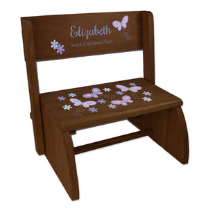 Personalized Child's Lavender Butterflies Espresso Flip Stool