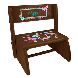 Personalized Espresso Flip Stool Aqua Butterflies Design