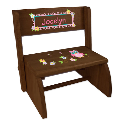 Personalized Pink Owl Childrens And Toddlers Espresso Folding Stool