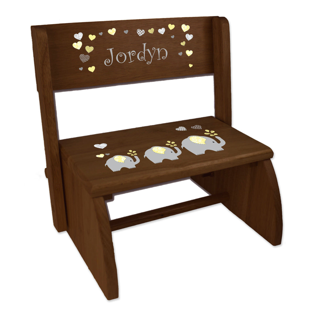 Personalized Yellow Elephants Childrens And Toddlers Espresso Folding Stool