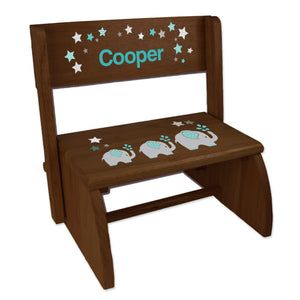 Personalized Grey And Teal Elephant Childrens And Toddlers Espresso Folding Stool