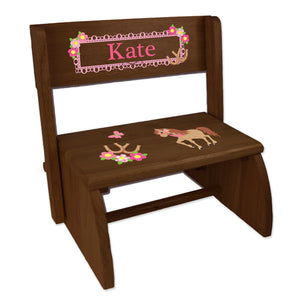Personalized Ponies Prancing Childrens And Toddlers Espresso Folding Stool