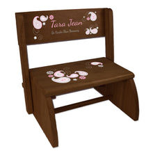 Personalized Pink Gray Paisley Child's Espresso Flip Stool