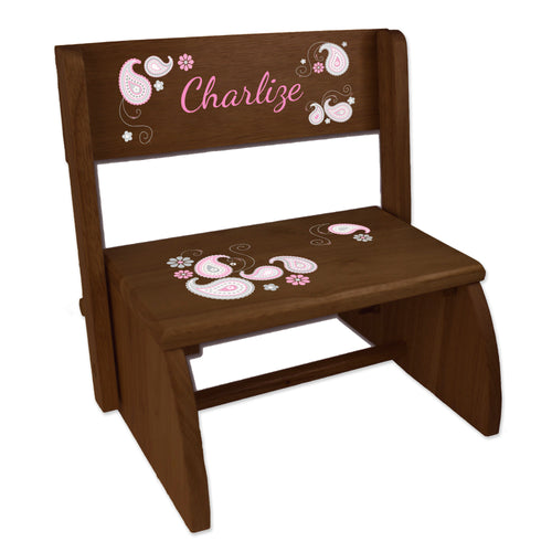 Personalized Paisley Pink Gray Childrens And Toddlers Espresso Folding Stool