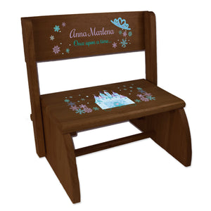 Personalized Winter Castle Child's Espresso Flip Stool