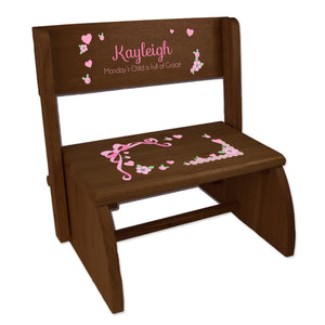 Personalized Girl's Pink Lacey Bow Espresso Flip Stool