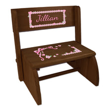 Personalized Espresso Flip Stool With Pink Bow Design