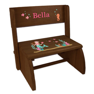 Personalized Brunette Mermaid Princess Childrens And Toddlers Espresso Folding Stool