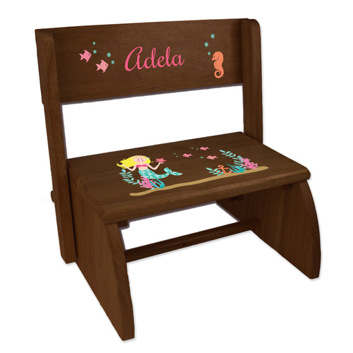Personalized Blonde Mermaid Princess Childrens And Toddlers Espresso Folding Stool