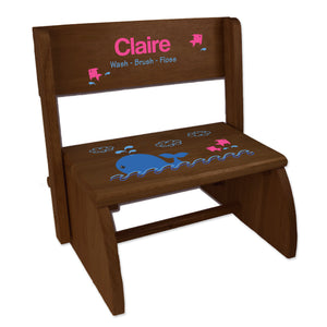 Personalized Pink Whale Child's Espresso Flip Stool