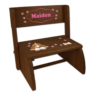 Personalized Pink Puppy Childrens And Toddlers Espresso Folding Stool