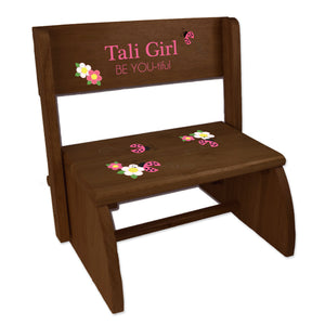 Personalized Pink Ladybug Child's Espresso Flip Stool