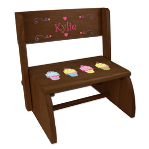 Personalized Cupcakes Childrens And Toddlers Espresso Folding Stool