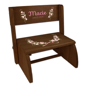 Personalized Girl 'Blush Floral Garland Espresso Flip Stool