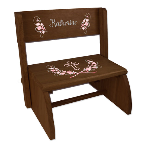 Personalized Holy Cross Pink Gray Floral Garland Childrens Espresso Flip Stool-1L