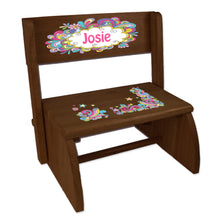 Personalized Groovy Swirl Childrens And Toddlers Espresso Folding Stool