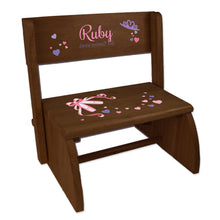 Personalized Ballet Princess Child's Espresso Flip Stool