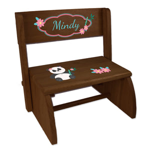 Personalized Panda Bear Childrens And Toddlers Espresso Folding Stool