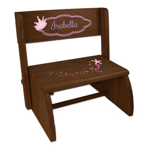 Personalized Fairy Princess Childrens And Toddlers Espresso Folding Stool