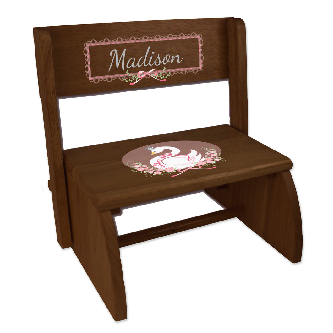 Personalized Swan Childrens And Toddlers Espresso Folding Stool