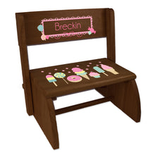 Personalized Espresso Flip Stool Sweet Treats Candy Design