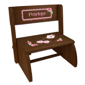 Personalized Tea Party Childrens And Toddlers Espresso Folding Stool
