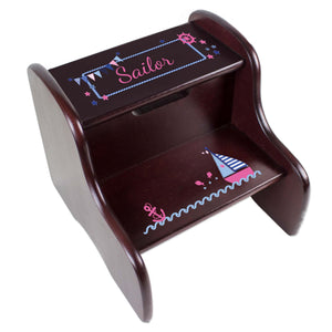 Personalized Pink Sailboat Espresso Two Step Stool