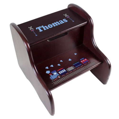 Personalized Espresso 2 Step Stool With Train Design