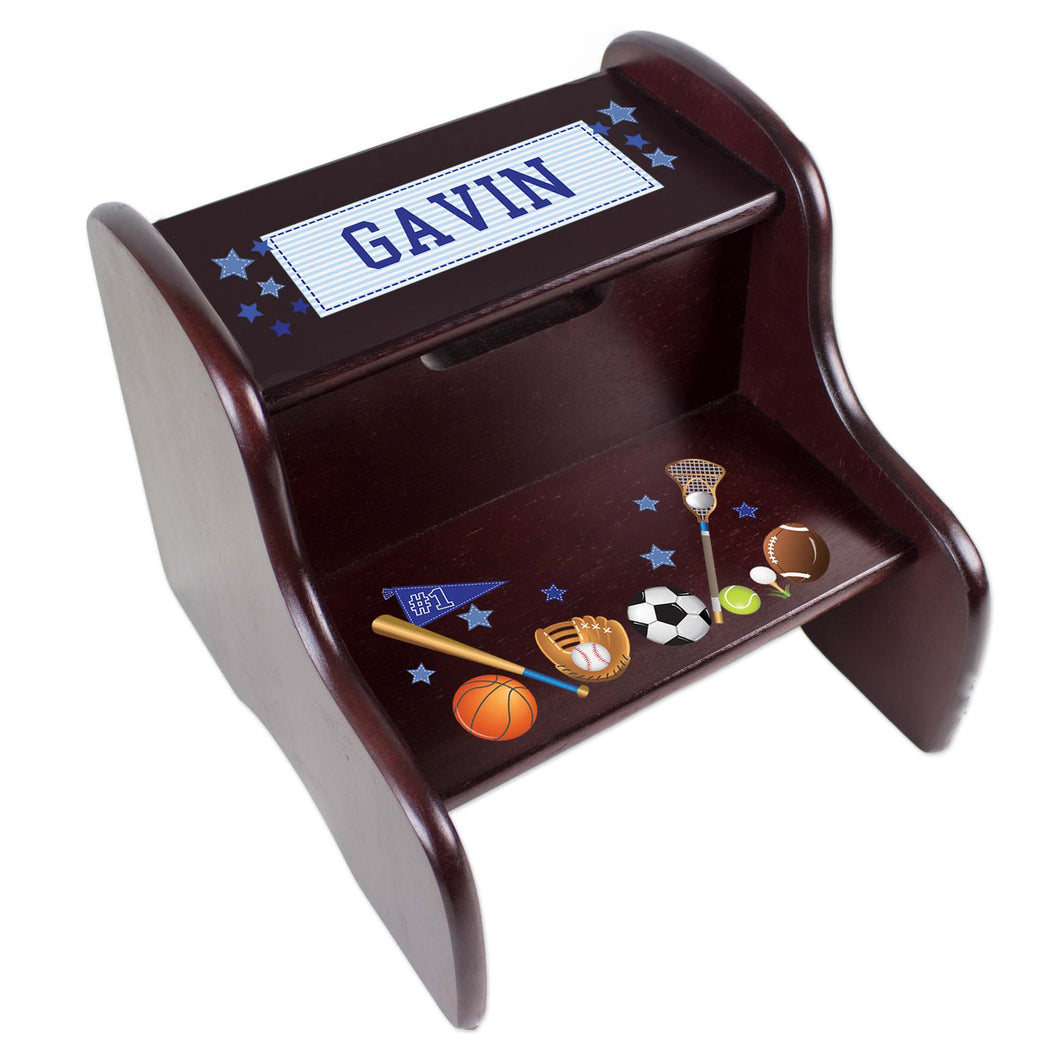 Personalized Espresso 2 Step Stool With Sports Design