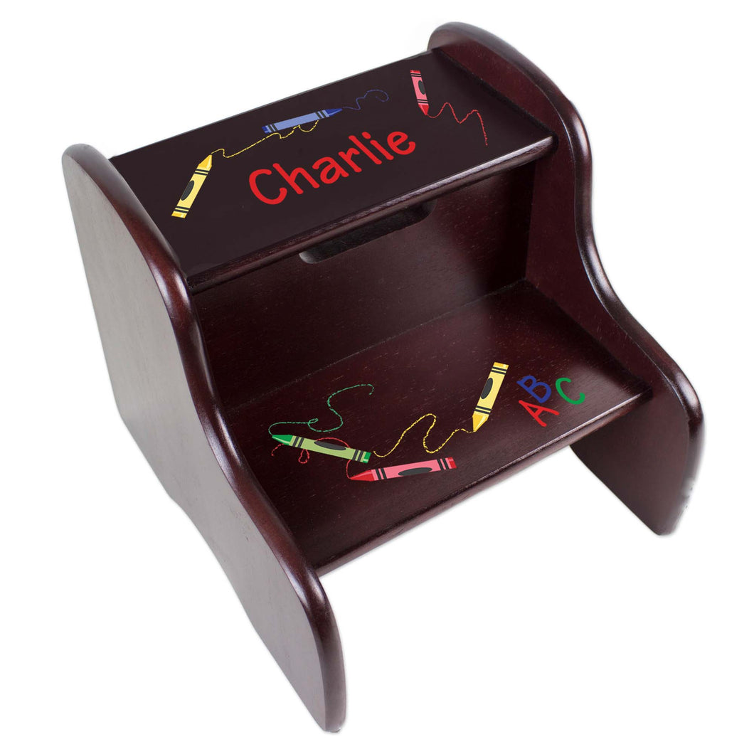 Personalized Crayon Espresso Two Step Stool