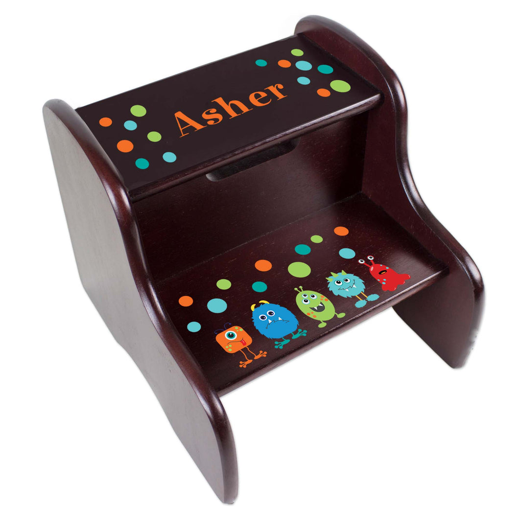 Personalized Espresso 2 Step Stool With Monster Mash Design