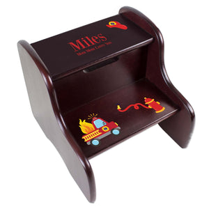 Personalized Firetruck Espresso Two Step Stool